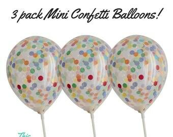 Confetti Balloons Mini Party Decoration or Cake Topper 3pk
