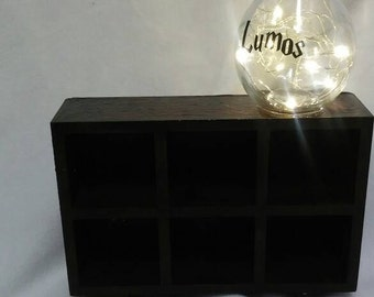 Harry Potter Inspired Apothecary Cubby Shelf with Attached Lumos Lamp