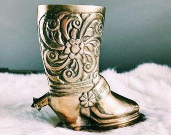 Vintage Brass Cowboy Boot w/ Spur / Matchstick Holder