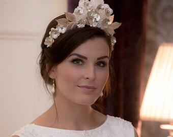 Golden Flower Crown Headdress Bridal Hair Piece