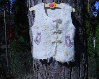 Children white  wool vest    Merino wool vest  White kid's vest with animal pictures  Kid's  jacket Unique kid's vest  To order