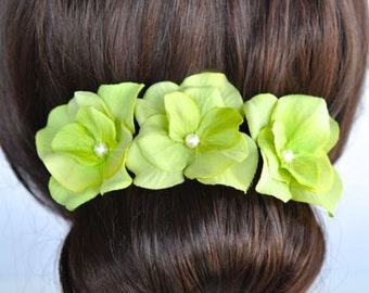 Set of 3 Handmade Lime Green Hydrangea Flower Hair or Bobby Pins, Bridal, Wedding (Pearl-399)