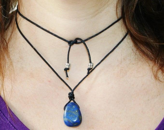 Cotton Waxed Choker Lapis Lazuli Necklace, double necklace, Choker Necklace, Lapis Lazuli Jewelry, Tumbled Lapis, Quality Lapis Drilled