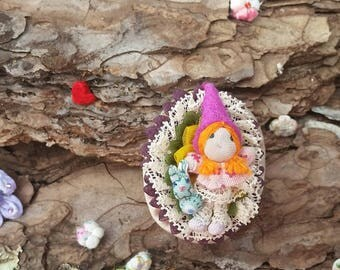 Friendship fairy brooch, fairy of animals, rabbit fairy, fairy and rabbit, friendship gnome, luck fairy, luck gnome, for girl brooch.