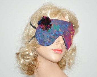 Pom Pom Sleeping mask, Block out light and sun, burgundy and blue, Eye mask