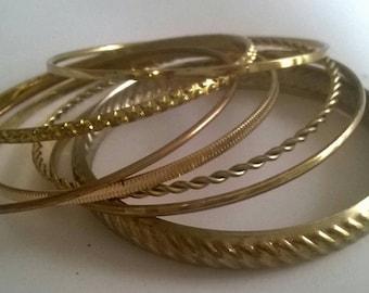 Goldtone metal bangle bracelet set of 7 boho