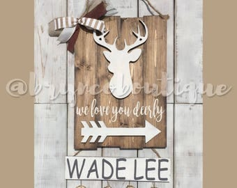 Deer / Hospital Door Hanger / Welcome Baby / Baby Boy / Birth Announcement / Hospital Wreath / Wood Sign