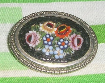 Vintage Sterling Italian Micro Mosaic Floral Brooch pin with Tiny Floral Center italy 1930