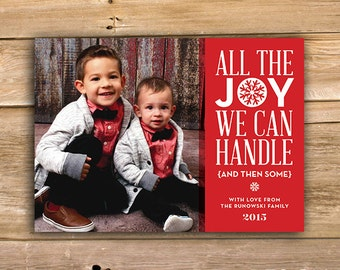 All the Joy Christmas Card, Funny Christmas card, Personalized Photo Christmas Card, Photo Holiday Card, printable, instant download