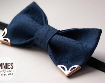 Blue bowtie,  jeans bowtie, metal tips, golden tips, metal corners, men's bowtie, Bow Tie For Groomsmen, Necktie For Wedding