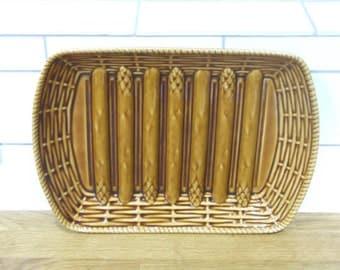 French Vintage Sarreguemines Asparagus Serving Platter // Asparagus Plate // Asparagus Serving Plate