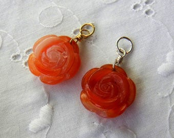 Tangerine Carnelian Pendant, Carved Rose, Sterling Silver or Gold Filled Wire Wrapped Pendant, Carnelian Charm, Interchangeable Pendant