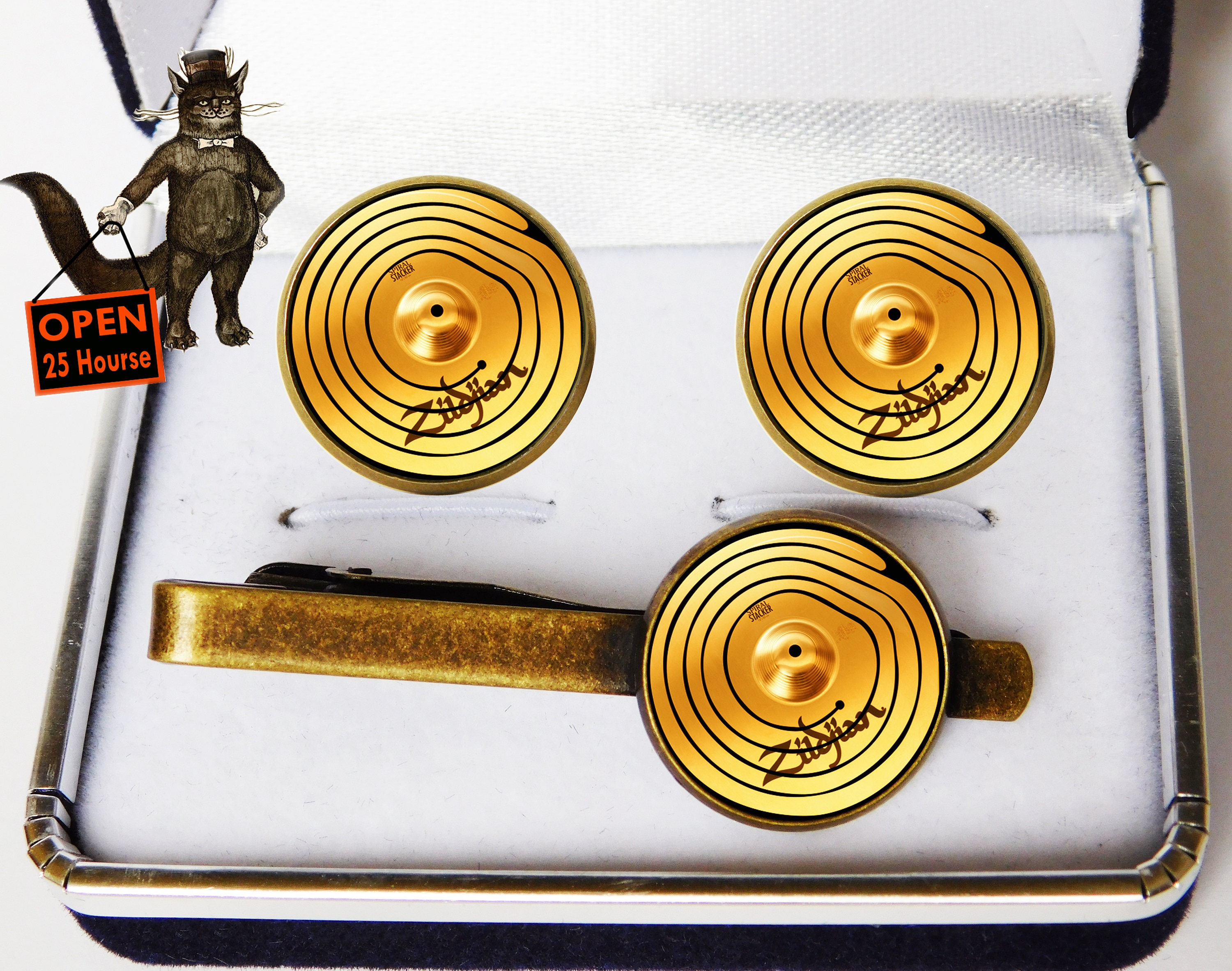Drummer Cymbals Set cufflinks and tie clip, drummer gifts, gifts for drummers, drummer