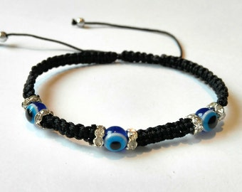 Black String Bracelet , String Of Fate , Kabbalah Bracelet , Protection Bracelet ,Evil Eye Bracelet , Blue Eye , Good Luck Bracelet ,Simple