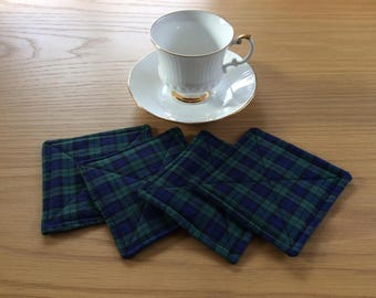Tartan drinks coasters, cotton tartan fabric coasters, tartan quilted coasters, set of 4 in a green and blue tartan cotton fabric