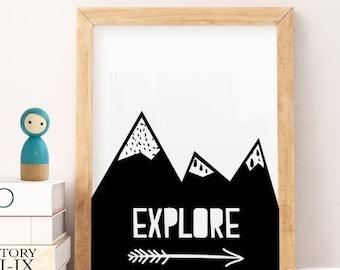 SALE Nursery Prints, Print mountains arrow, Kids Playroom Decor, Printable Wall Art,  Wall Art Kids, explore black arrows, nursery print 22