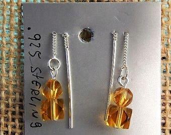 amber swarovski crystal 2.5 threaded .925 silver earrings