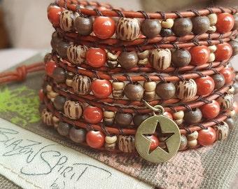 Beaded leather Wrap Bracelet, Boho Wrist Wrap, Women's Bracelet, Leather Bracelet, Women's Jewellery, 5x Wrap, Bohemian, 6.5 inch Wrist