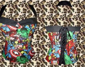Marvel Comics Sailor Collar Halter Top Sz. S, M, L, XL