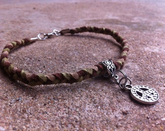 Multicolor Braided Leather Bracelet with a Peace Charm
