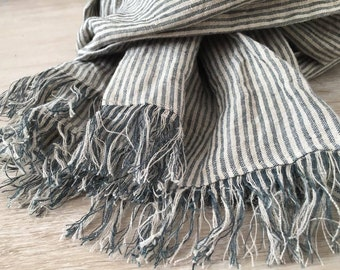 FREE SHIPPING Striped washed linen scarf with fringes, handmade linen scarf