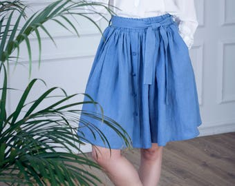 Linen skirt with front-buttons and linen belt, French blue knee length linen skirt