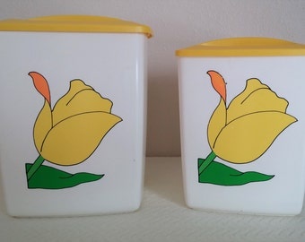 Set of 2 Vintage Plastic Yellow Tulip Canisters form the 1950-60's, Vintage Canisters, Vintage Kitchen