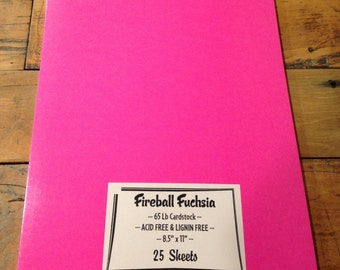 Pink Fireball Fuchsia Cardstock 65 lb Paper 8.5 x 11 25 sheets QUALITY