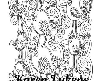 Happy Flock, 1 Adult Coloring Book Pages, Printable Instant Download, Whimsical Birds,Karen Lukens