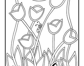 Stained Glass Tulips, 1 Adult Coloring Book Page, Instant Download, Flowers