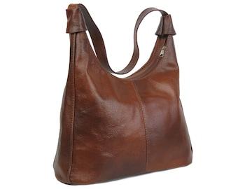LEATHER HOBO Bag, Shoulder Bag, Tan Leather Bag, Leather Hobo, Everyday Leather Shoulder Bag, COLOR:  Cognac Brown / Dark Brown