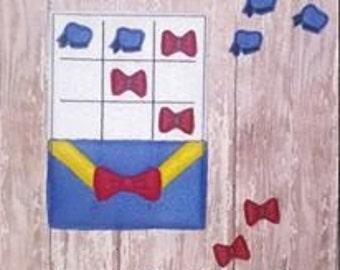 Boy Duck Tic Tac Toe Felt Embroidery Design