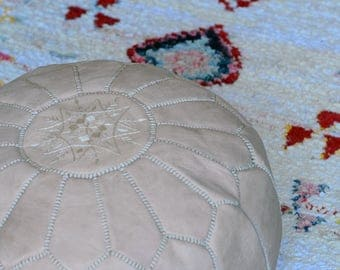SALE* Natural Moroccan Leather Pouf