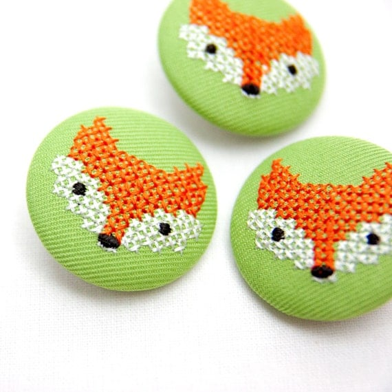 Woodland cross-stitch fox button