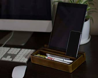 Old Wood Mini Desk Organizer Desktop Shelf Office & Home Keyboard Rack Wooden Desktop Storage Accessories