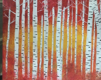 Original Acrylic Painting Birch Trees in Fall