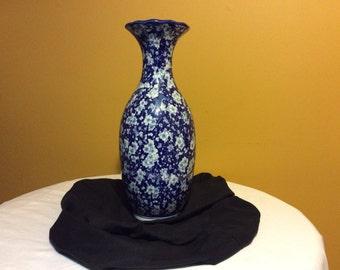 """Vintage Asian Blue and White Porcelain Decrative 16"""" Vase"""