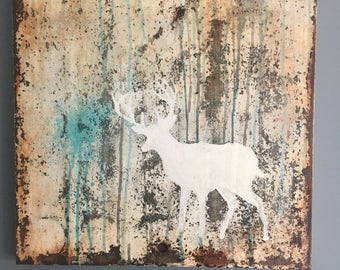 Ghost deer wall art repurposed scrap metal rusty rustic