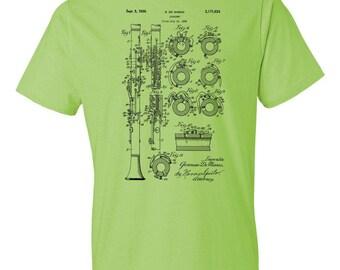 Clarinet T-Shirt Patent Art Gift, Clarinet Patent, Clarinet Player Gift, Clarinet Teacher Gift, Music Teacher Gift, Musician Gift