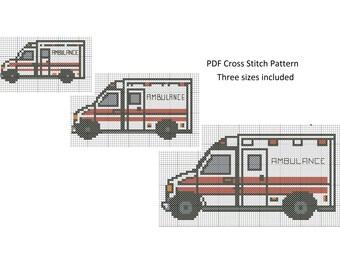 Ambulance Cross Stitch Pattern, Cross Stitch Patterns, Counted Cross Stitch, Ambulance Pattern XStitchEverything, Cross Stitch Ambulance
