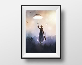 Mary Poppins poster - Digital Illustration printed on A4 photo paper