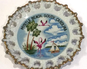 Vintage Myrtle Beach, South Carolina Souvenir Plate, Myrtle Beach Souvenir Plate, Vintage South Carolina Plate