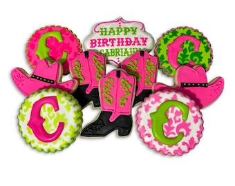 Pink Cowgirl Birthday Cookies - 2 Dozen