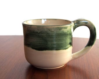 Hand-painted Mug - White/Forest Green