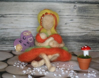 Handmade wool bright citrus fairy mummy and her baby