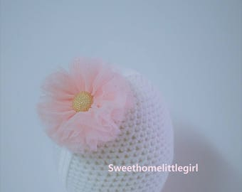 Daily headband,Tulle flowers,tulle headband,light pink tulle headband,elastic headband,light pink,mint tulle flower,glitter tulle