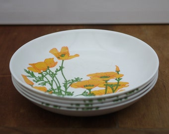 Vintage french Melamine Plates set of 4 TEFAL, Camping Cookware White with Orange Flowers 1970's Picnic