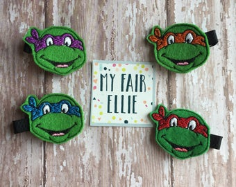 Ninja Turtles Hair Clips - Ninja Turtles Felties - Ninja Turtle Feltie - Leonardo Bow - Donatello Feltie - Raphael Feltie - Michelangelo