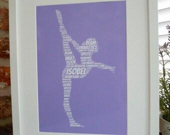 Personalised Gymnast Print, Personalised Gymnastics Print,  Word Art Print, Unframed Print, Personalised Print, Gymnastics Print