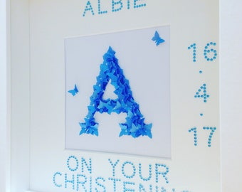 Personalised framed initials made from butterflies. Available in a huge choice of colours and designs with wording of your choice.